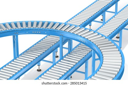Blue Roller Conveyor System.  Abstract assembly of blue industrial conveyors in various directions.