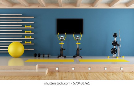 Blue room with spinning bike, ball and hand weight - 3d rendering
