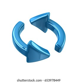 Blue rotation arrows icon 3d illustration on white background