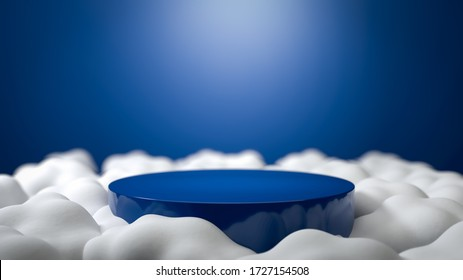 BLue round stage, podium or pedestal flying in the clouds at sky. Perfect illustration for placing your product of object on podium. Abstract minimalist backdrop or mockup. 3d illustration
