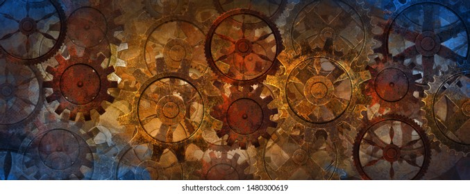 Blue and rusty steampunk banner with gears and wheels