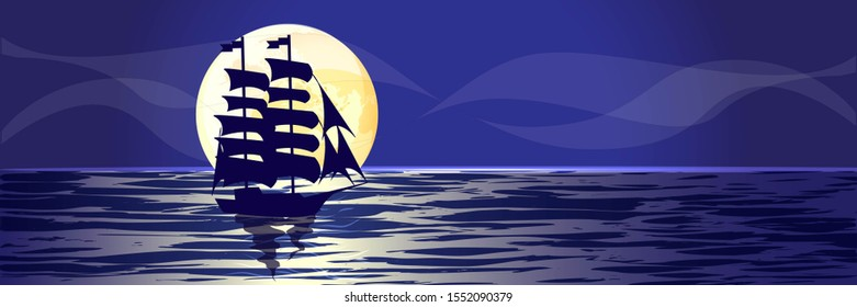 Blue Sailing ship, Boat with sail in night sea, ocean isolated on blue background, yellow moon raster illustration