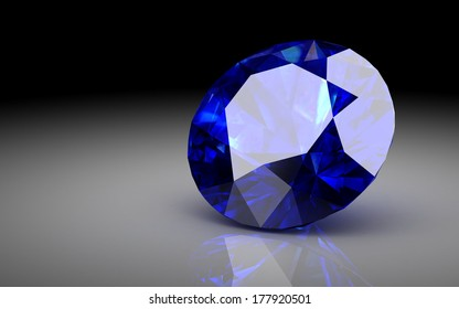 blue sapphire on white background (high resolution 3D image)