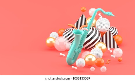 Blue saxophone surrounded by golden balls on a pink background.-3d render.