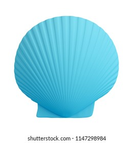 Blue scallop shell isolated on white background. Trendy fashion style. Minimal design art. 3d illustration.