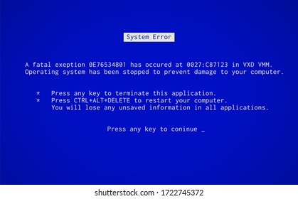 Blue Screen of Death. Operating system crash error message. BSOD malfunction report