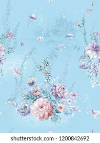 Blue sea coral, shell pearl and water grass flowers, through the hand-painted watercolor painting, particularly delicate, exquisite, dahlia,also blooming very beautiful