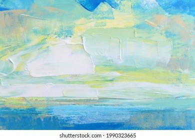 Blaue Meeresküste und Himmelsölmalerei