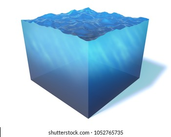 Blue Sea Water Cube Section Isolated on White Background. Miniature isometric aqua landscape. 3D Illustration.