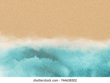 blue sea and Yellow Sand gradient paper background.Summer beach. Abstract watercolor background