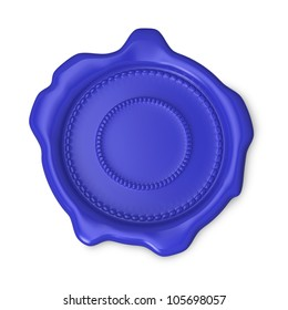 Blue seal of approval on white background