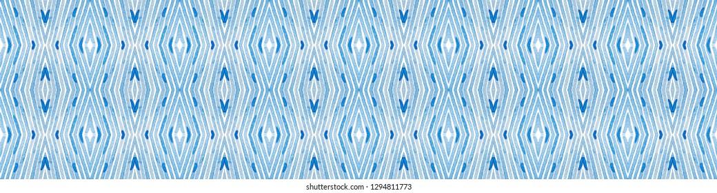 Blue Seamless Border Scroll. Geometric Watercolor Frame. Adorable Seamless Pattern. Medallion Repeated Tile. Powerful Chevron Ribbon Ornament.