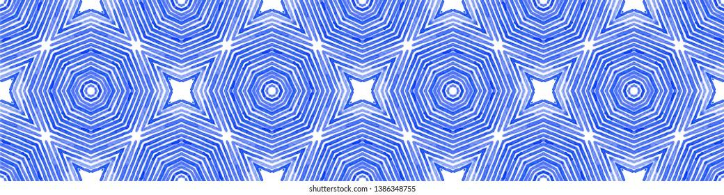 Blue Seamless Border Scroll. Geometric Watercolor Frame. Adorable Seamless Pattern. Medallion Repeated Tile. Uncommon Chevron Ribbon Ornament.