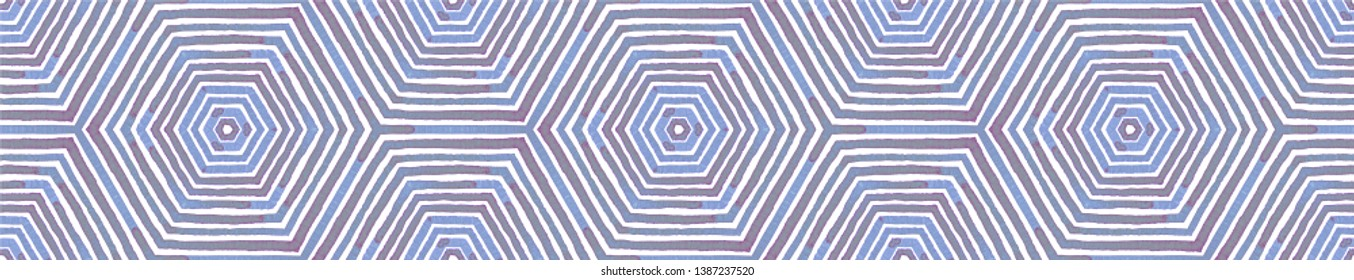 Blue Seamless Border Scroll. Geometric Watercolor Frame. Adorable Seamless Pattern. Medallion Repeated Tile. Radiant Chevron Ribbon Ornament.
