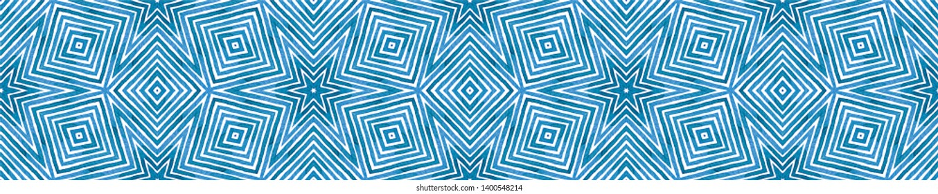 Blue Seamless Border Scroll. Geometric Watercolor Frame. Adorable Seamless Pattern. Medallion Repeated Tile. Authentic Chevron Ribbon Ornament.