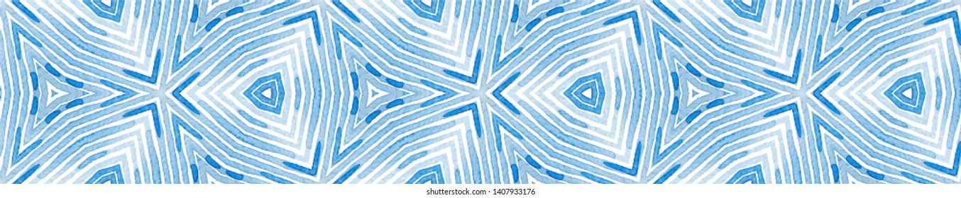 Blue Seamless Border Scroll. Geometric Watercolor Frame. Adorable Seamless Pattern. Medallion Repeated Tile. Graceful Chevron Ribbon Ornament.