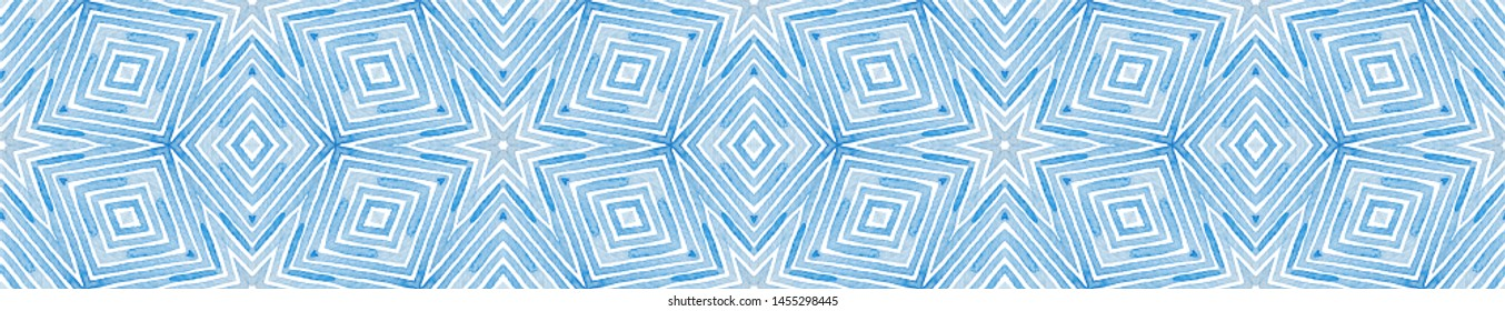 Blue Seamless Border Scroll. Geometric Watercolor Frame. Admirable Seamless Pattern. Medallion Repeated Tile. Sublime Chevron Ribbon Ornament.