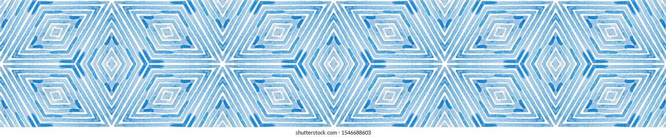 Blue Seamless Border Scroll. Geometric Watercolor Frame. Adorable Seamless Pattern. Medallion Repeated Tile. Optimal Chevron Ribbon Ornament.