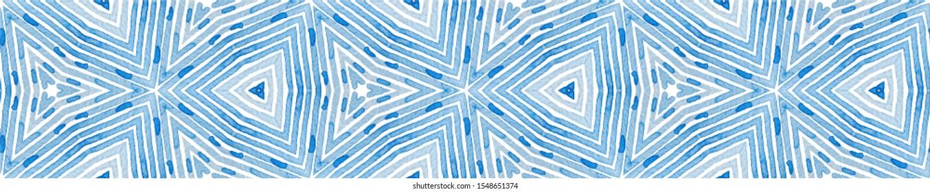 Blue Seamless Border Scroll. Geometric Watercolor Frame. Adorable Seamless Pattern. Medallion Repeated Tile. Impressive Chevron Ribbon Ornament.
