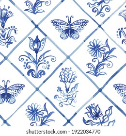 Blue seamless pattern - old fashion hand-drawn rustic floral motifs. Stylized flowers and butterflies on a background in cells. Pattern for wallpaper, fabric, packaging