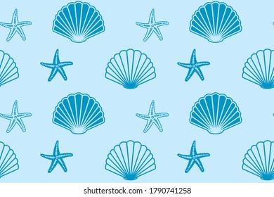 blue seamless pattern with seashells and starfish - background