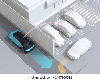 Blue sedan detected a car leaving parking lot to avoid an car accident. Connected car concept. 3D rendering image.
