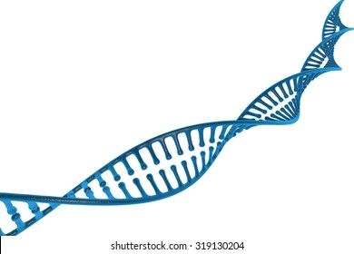 blue semi-transparent DNA stands isolated on white background.