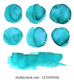 Blue. Set watercolor blobs, isolated on white background. Shape design blank watercolor colored rounded shapes web buttons on white background. Divorces paint. Turquoise