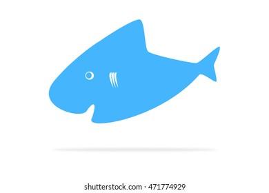 Blue shark illustration on white