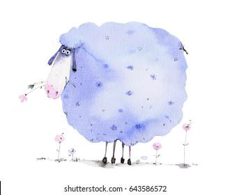 blue sheep,  watercolor illustration, farm animal