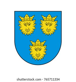 Blue shield with three leopards. Symbol of Croatian Dalmatia. Abstract concept. Raster illustration on white background.