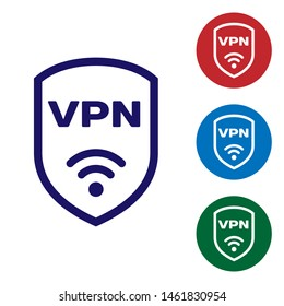 Blue Shield with VPN and wifi wireless internet network symbol icon isolated on white background. VPN protect safety concept. Set color icon in circle buttons
