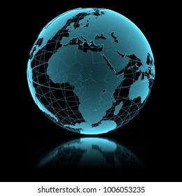 Blue shining transparent earth globe on black background. 3d illustration.