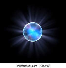 Blue shiny ball in a metallic style with visible white light