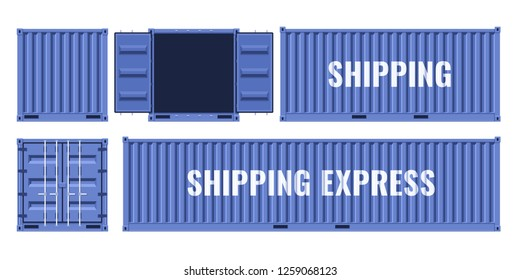 Blue shipping cargo metal container from different points of view. Flat illustration isolated on white background