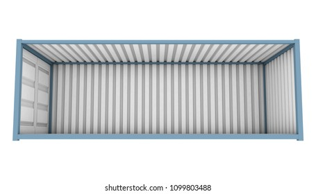 A blue shipping container with the whole side panel removed revealing an empty interior on an isolated white background - 3D render