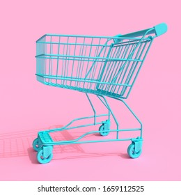 Blue Shopping Cart Trolley Mock Up Duotone on a pink background. 3d Rendering