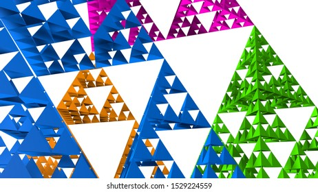 Blue Sierpinski triangle close-up on white background. It is a fractal with the overall shape of an equilateral triangle, subdivided recursively into smaller equilateral triangles. 3D Illustration