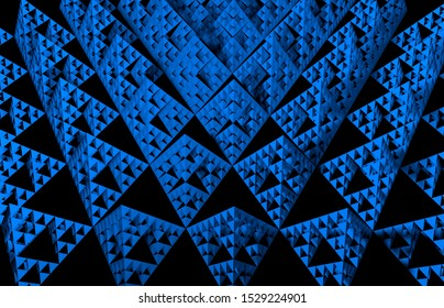 Blue Sierpinski triangle texture on black background. It is a fractal with the overall shape of an equilateral triangle, subdivided recursively into smaller equilateral triangles. 3D Illustration
