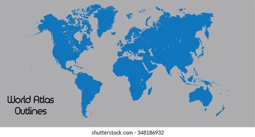 Blue Silhouette of World Atlas