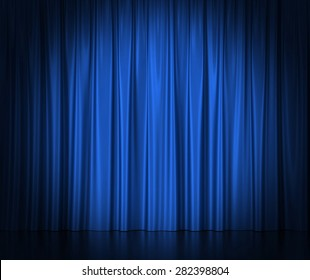 Blue silk curtains for theater and cinema spotlit light in the center. 3d illustration High resolution