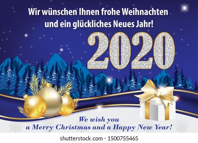 Blue and silver greeting card for the New Year 2020 celebration with German text. Text translation: We wish you a Merry Christmas and a Happy New Year.