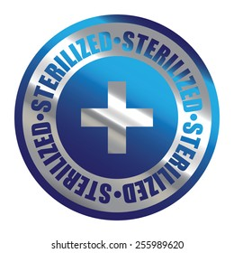 Blue Silver Metallic Circle Sterilized Icon, Label, Banner, Tag or Sticker Isolated on White Background
