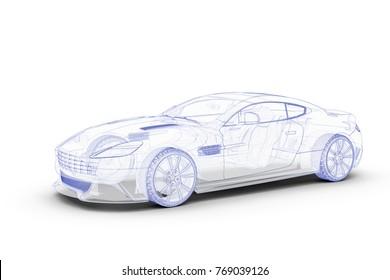 Blue sketch car on a white background: 3D Illustration