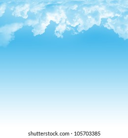 Blue Sky Background Template With Space for Text Message Isolated on Blue