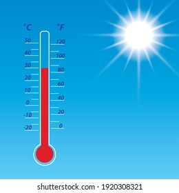 blue sky with bright sun and thermometer