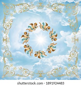 Blue sky with clouds. Angels flying in a circle framed by a golden pattern