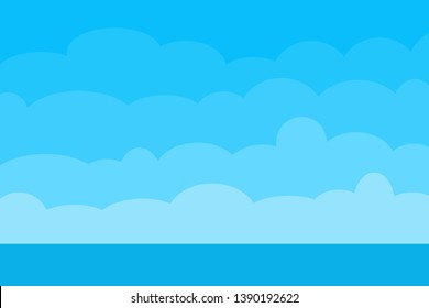 Blue sky with clouds and sea blue background for presentation design.