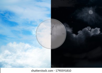 Blue sky, cloudy in the afternoon and blurred Night time in the evening with analog clock. Cycle of the day am., pm. Copy space.