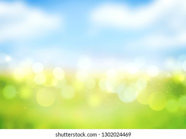 Blue sky green grass blurred abstrat background.Spring meadow natural backdrop  illustration.